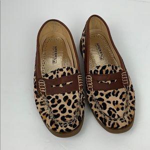 Sperry Top - Sider Sz 7M Leather Cheetah Print EUC